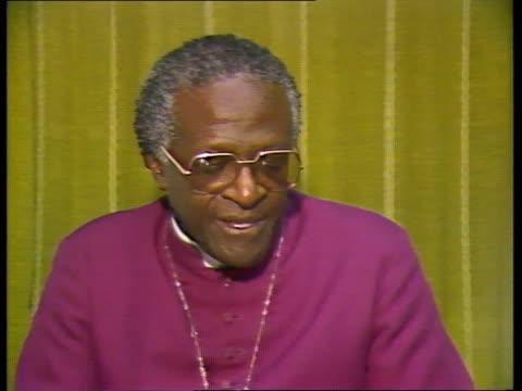 vídeos de stock, filmes e b-roll de desmond tutu interview s africa cms bishop desmond tutu intvw sof cape town quoti suppose in fact securequot - desmond tutu