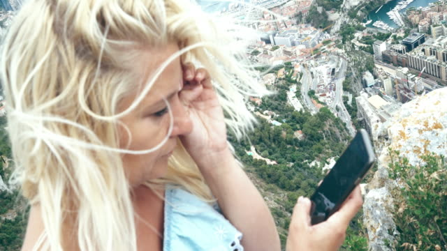 ws despaired woman crying on a cliff above monaco - relationship breakup stock videos & royalty-free footage