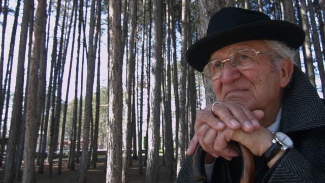 despairing senior man - walking cane stock videos and b-roll footage