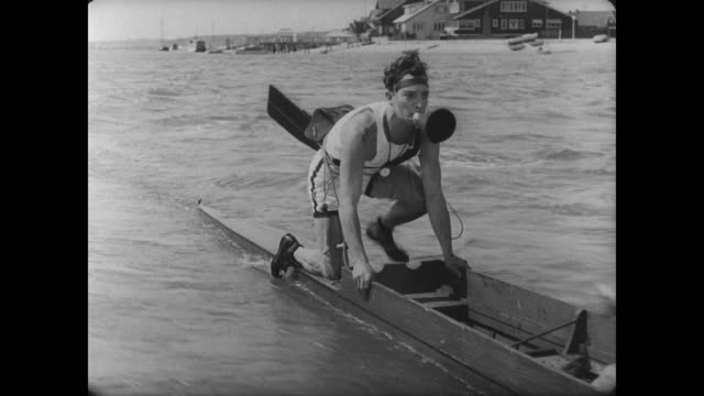 1927 Despite man's (Buster Keaton) unorthodox calling methods, his rowing team pulls ahead