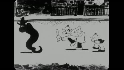 vídeos y material grabado en eventos de stock de 1926 despite morphing into different characters, detectives mutt and jeff pursue phantom onto rooftop - detective