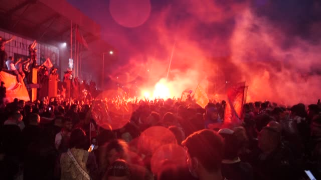 despite pleas for supporters to stay away, thousands of fans crowded around anfield stadium as liverpool lifted the premier league trophy at home... - winning stock videos & royalty-free footage