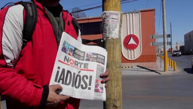 despues del asesinato de la periodista miroslava breach el mes pasado el diario mexicano norte anuncio su ciere el domingo y denuncio que ya no es... - diario stock videos and b-roll footage