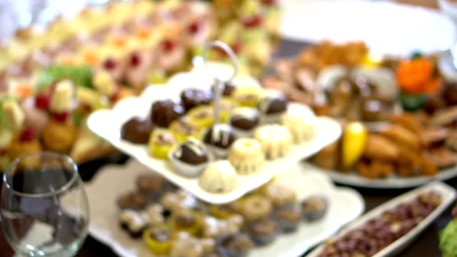 dessert at the table - buffet stock videos & royalty-free footage