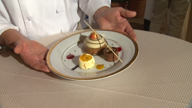 atmosphere dessert dish at the beverly hilton unveils menu for 70th annual golden globe awards atmosphere dessert dish at the beverly hilton unv at... - the beverly hilton hotel stock videos & royalty-free footage