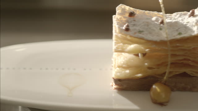 Dessert with caramel