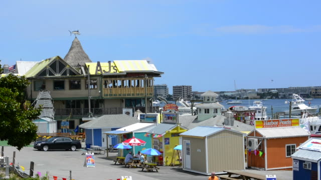 Destin Florida Panhandle beach tourist bar famous AJ's and boats at the shore