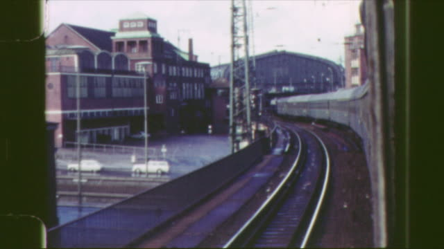 """destination sign """"hamburg altona"""", train arriving at train station somewhere in germany, leaving the train station shot as a view from the train,... - hamburg germany stock videos & royalty-free footage"""