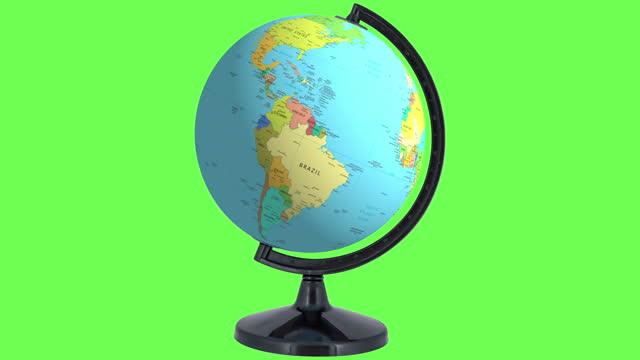 vídeos y material grabado en eventos de stock de destino sudamérica: el globo gira rápido y luego se detiene para mostrar el área de américa central y del sur - hispanoamérica