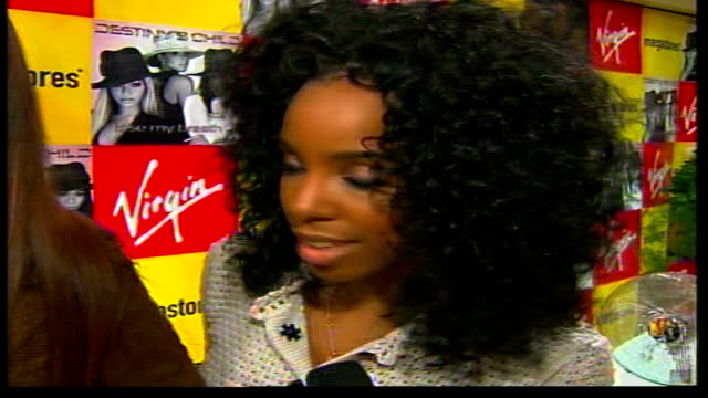 destiny's child album launch / interviews; england: london: piccadilly: virgin megastore: interview destiny's child group sot beyonce sot kelly... - destiny's child stock videos & royalty-free footage