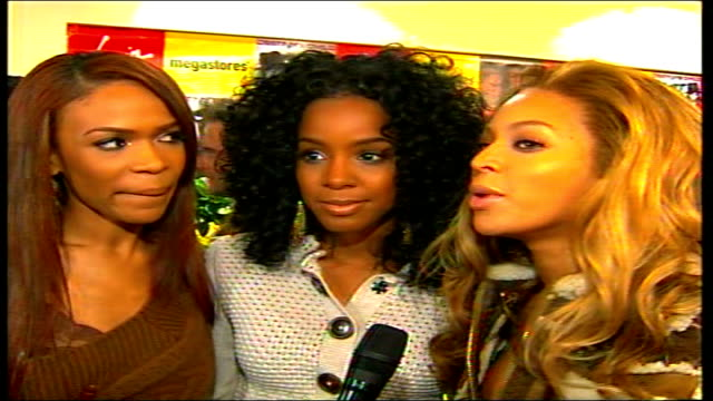 destiny's child album launch / interviews; england: london: piccadilly: virgin megastore: interview destiny's child group sot gvs girls speaking to... - destiny's child stock videos & royalty-free footage