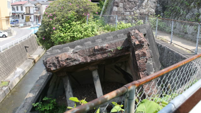 Destroyed brick casing of the original bell tower of the Urakami Cathedral in Nagasaki in Japan