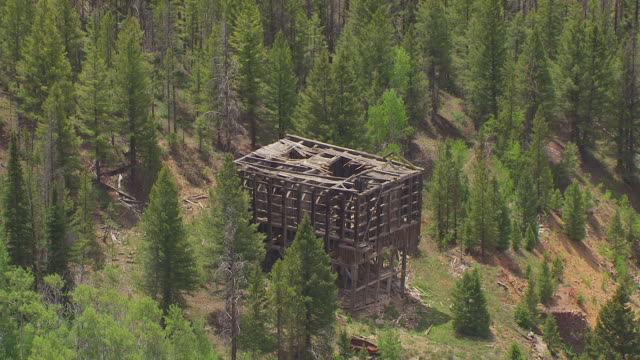 MS AERIAL TS Destroyed building in forest / Idaho, United States