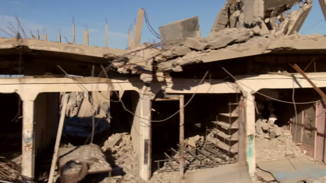 Destroyed buildings and rubble from US airstrikes on an what was an Islamic State stronghold in Deir ezZor Syria