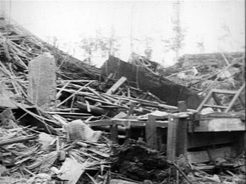 Destroyed buildings in population centers caused by American bombing raids