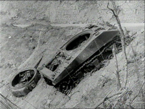 montage destroyed german panzers after the battle / san pietro italy - wehrmacht stock videos & royalty-free footage