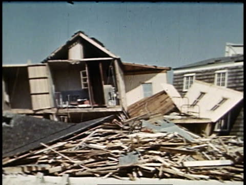 montage destroyed houses after a hurricane / new london connecticut united states - 1938 stock videos & royalty-free footage