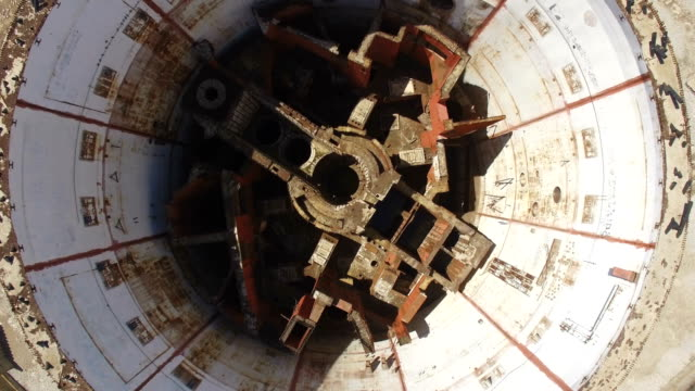 aerial: destroyed reactor of nuclear power plant - nuclear reactor stock videos & royalty-free footage