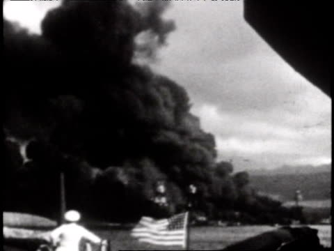 destruction at pearl harbor - anno 1941 video stock e b–roll