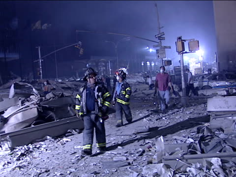 Destruction at the World Trade Center the Night of the 9/11 Terrorist Attack on September 12 2001 in New York New York