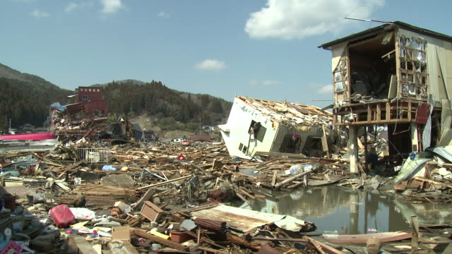destruction in kesennuma city, a traditional fishing town in n e japan filmed on 1 april 2011, 3 weeks after a tsunami which was caused by magnitude 9 tohoku earthquake off north east japan / audio - tsunami stock videos & royalty-free footage