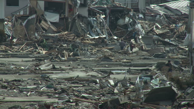 Destruction in Kesennuma City, Japan filmed on 1 April 2011, 3 weeks after a tsunami which was caused by magnitude 9 Tohoku earthquake off north east Japan / AUDIO