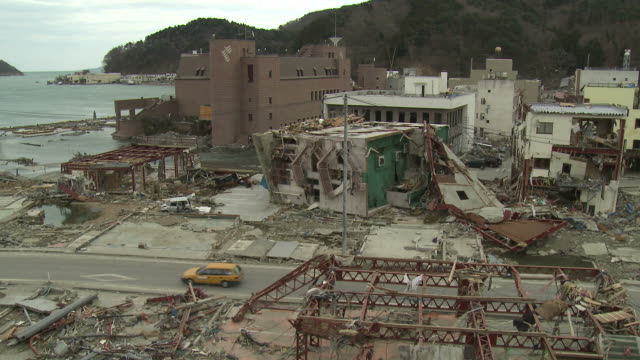 Destruction in Onagawa city, near Sendai Japan on 3rd April 2011; after tsunami following Tohuku earthquake of March 2011.