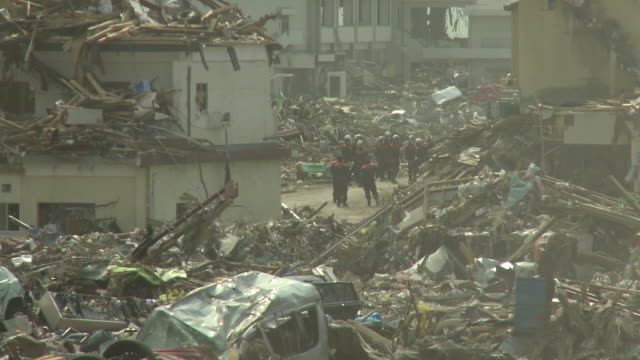 Destruction in Rikuzentakata, Iwate Prefecture, Japan on 2nd April 2011; 3 weeks after the tsunami following the Tohuku earthquake of March 2011.