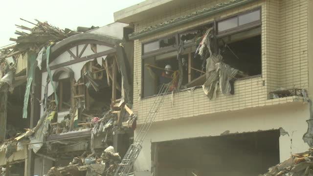 Destruction in Rikuzentakata, Iwate Prefecture, Japan on 2nd April 2011; after tsunami following Tohuku earthquake of March 2011.