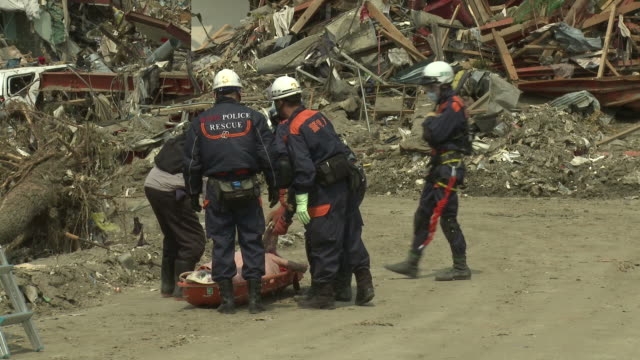 destruction in rikuzentakata, iwate prefecture, japan on 2nd april 2011; 3 weeks after the tsunami following the tohuku earthquake of march 2011. - 2011 stock videos & royalty-free footage