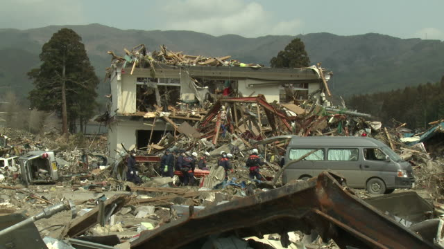 destruction in rikuzentakata, iwate prefecture, japan on 2nd april 2011; after tsunami following tohuku earthquake of march 2011. - 2011 stock videos & royalty-free footage