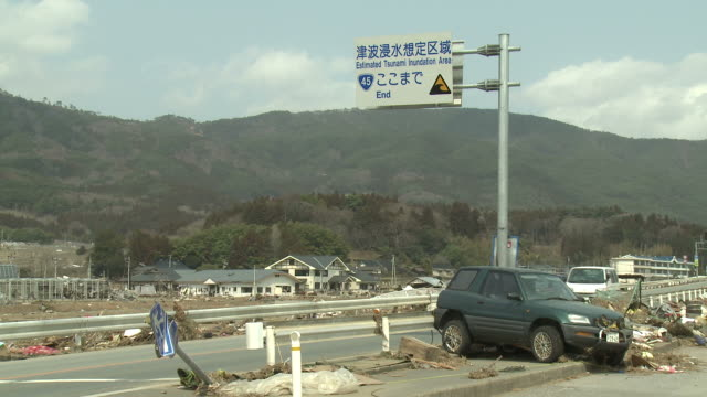 Destruction in Rikuzentakata, Iwate Prefecture, Japan on 2nd April 2011; after tsunami following Tohuku earthquake of March 2011.