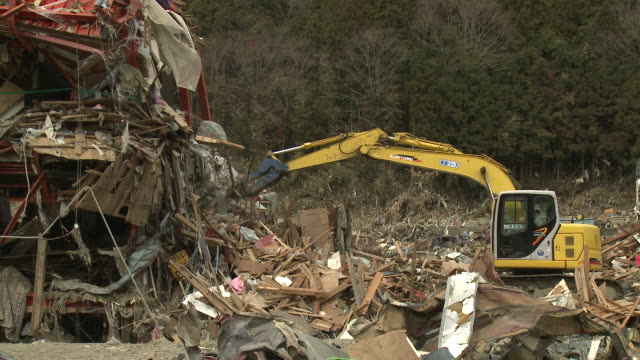 destruction in shizugawa city, miyagi, japan on 3rd april 2011; after tsunami following tohuku earthquake of march 2011. - 2011 stock videos & royalty-free footage