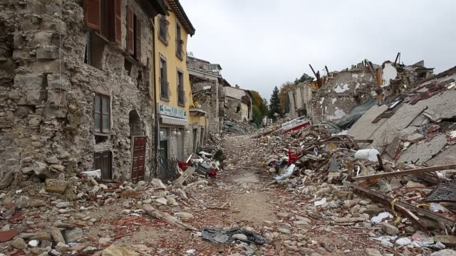 destruction in the village of amatrice. nearly 300 people died in the quake of august 24, 2016 and hundreds more were injured. - destruction stock videos & royalty-free footage