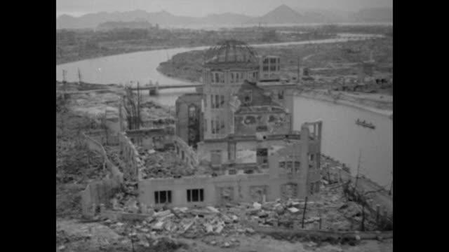 vídeos y material grabado en eventos de stock de destruction of the commercial museum in hiroshima after atomic bombing - hiroshima prefecture