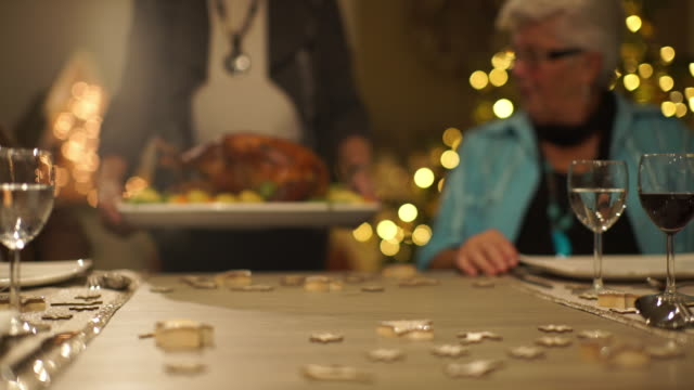 detail christmas turkey being served - thanksgiving plate stock videos & royalty-free footage