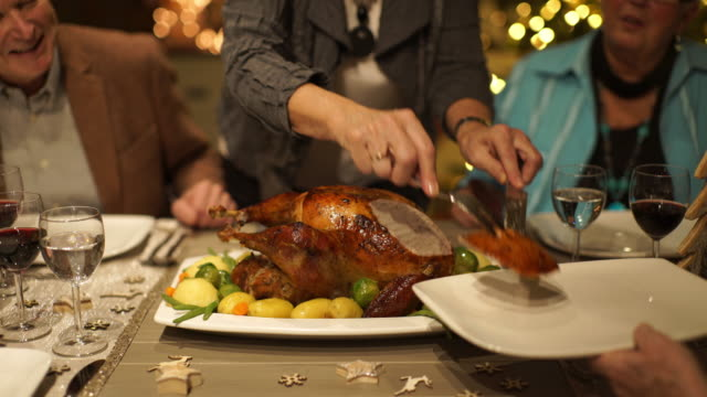 detail cutting roasted christmas turkey