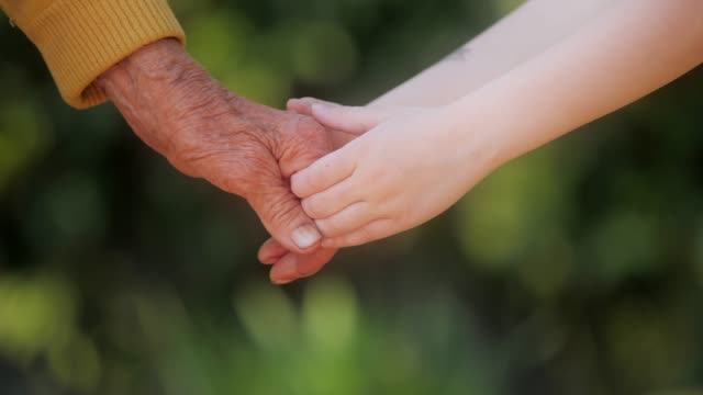 helping hand. detail of a child's hands holding the senior woman hands - hands clasped stock videos & royalty-free footage