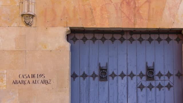 Detail of a door in Salamanca city, Salamanca province, Castilla y Leon, Spain, Europe