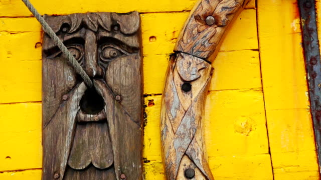 Detail of a old viking boat at harbor