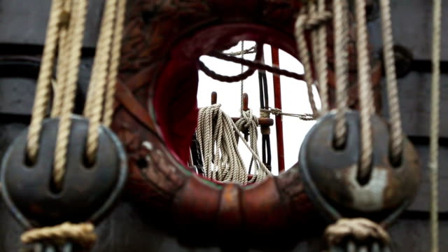 detail of a old viking boat at harbor - viking stock videos and b-roll footage