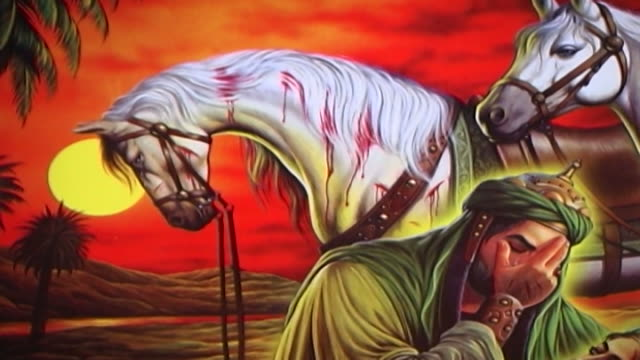 detail of a painting depicting the death of hussain ibn ali at the battle of kerbala. this type of painting is used in the ashura commemorations. - ashura muharram stock videos & royalty-free footage