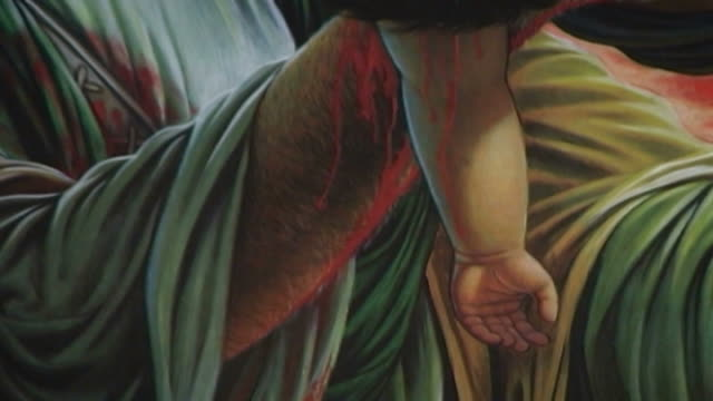 detail of a painting of hussain ibn ali holding his dead child, who was killed during the battle of kerbala. this type of painting is used in the... - ashura muharram stock videos & royalty-free footage