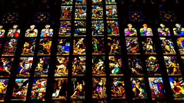 detail of a stained glass window inside the cathedral of Milan