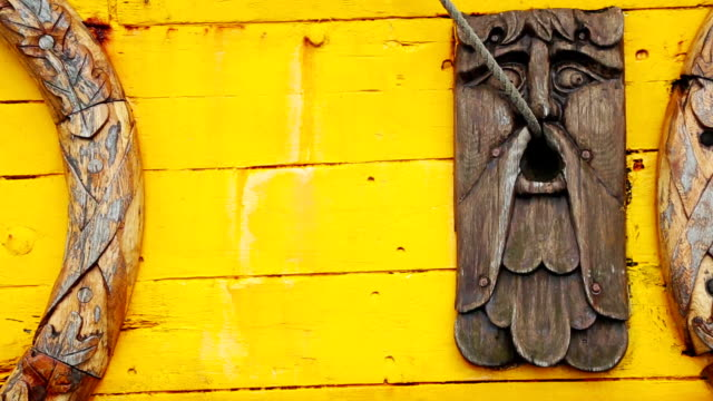 Detail of a viking boat at harbor