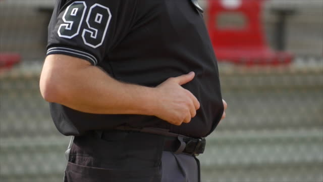 detail of an overweight umpire at a baseball game. - slow motion - overweight stock videos & royalty-free footage