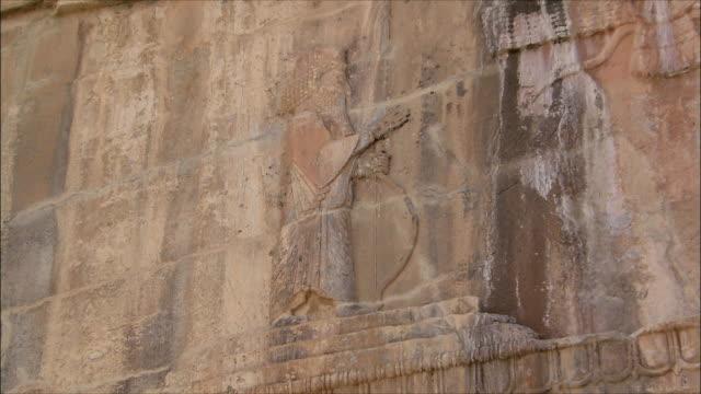 cu zi detail of ancient building with bas relief, persepolis, iran - bas relief stock videos & royalty-free footage