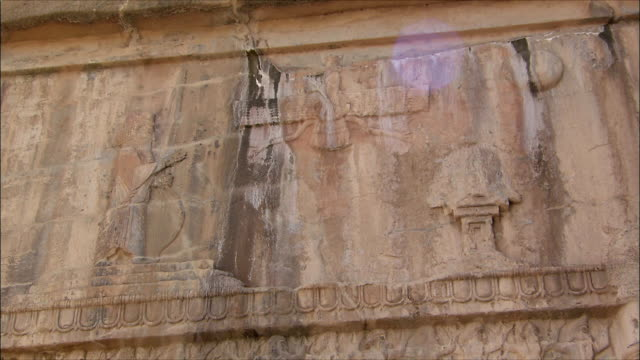 ms la zi detail of ancient building with bas relief, persepolis, iran - bas relief stock videos & royalty-free footage