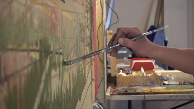Detail der Künstlerleinwand im studio
