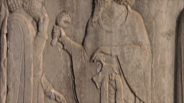 cu td tu detail of bas relief, persepolis, iran - dagger stock videos & royalty-free footage
